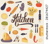 the set of kitchen utensils and ...   Shutterstock .eps vector #281674427