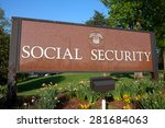 Small photo of WOODLAWN, MD - MAY 4: Sign outside Social Security Administration Headquarters in Woodlawn, MD on May 4, 2015.