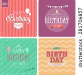vintage card   happy birthday... | Shutterstock .eps vector #281706857
