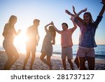 happy friends dancing on the... | Shutterstock . vector #281737127