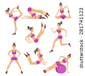 vector yoga illustration. set.... | Shutterstock .eps vector #281741123