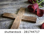 cross and rose abstract... | Shutterstock . vector #281744717