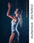 young woman in the rain | Shutterstock . vector #281764013