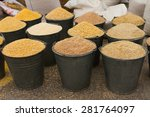 a buckets of corn animal feed | Shutterstock . vector #281764097