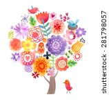 cute watercolor tree | Shutterstock . vector #281798057