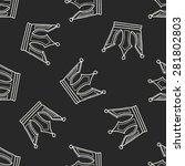 crown doodle seamless pattern... | Shutterstock .eps vector #281802803