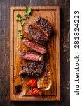 sliced medium rare grilled beef ... | Shutterstock . vector #281824223