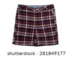 checkered shorts isolated on a... | Shutterstock . vector #281849177