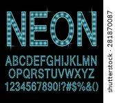 neon lamp font   alphabet  cyan ... | Shutterstock .eps vector #281870087