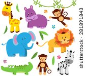 cute vector set of zoo animals | Shutterstock .eps vector #281891843