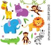 Stock vector cute vector set of zoo animals 281891843