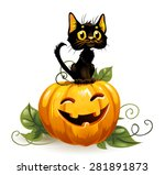 black cat on a halloween... | Shutterstock .eps vector #281891873