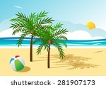 two palm trees on a beach  the... | Shutterstock .eps vector #281907173