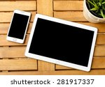 smart phone and tablet pc with... | Shutterstock . vector #281917337