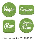set of four decorative vegan ... | Shutterstock .eps vector #281931593
