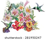 birds with watercolor garden... | Shutterstock . vector #281950247