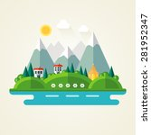 nature landscape flat icon | Shutterstock . vector #281952347