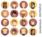 vector flat icon set avatar... | Shutterstock .eps vector #281996513