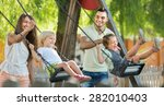 happy young cheerful family of... | Shutterstock . vector #282010403