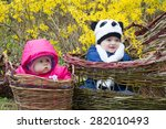 infant boy and girl in basket | Shutterstock . vector #282010493