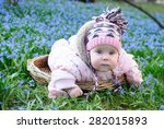 infant baby girl lying basket | Shutterstock . vector #282015893