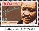 cuba   circa 1986  stamp... | Shutterstock . vector #282027623