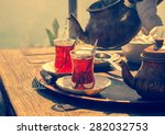 turkish tea with authentic...   Shutterstock . vector #282032753