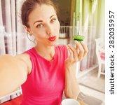 woman taking selfie with... | Shutterstock . vector #282035957