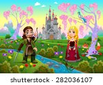 medieval couple in a landscape... | Shutterstock .eps vector #282036107