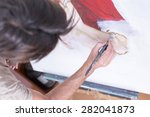 top view of a painter painting... | Shutterstock . vector #282041873