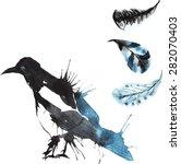 set   watercolor bird magpie ... | Shutterstock .eps vector #282070403