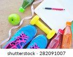 fitness concept  fresh fruits ...   Shutterstock . vector #282091007