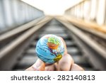 man hand hold in hand circle... | Shutterstock . vector #282140813