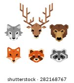 stylized geometric animal heads ...