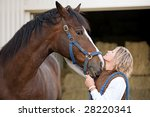 woman's and horse's faces... | Shutterstock . vector #28220341