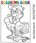 coloring book duck reporter... | Shutterstock .eps vector #282250733