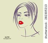 art sketched vector of girl... | Shutterstock .eps vector #282305213