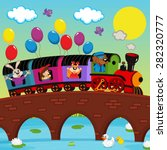 train on bridge with animals  ... | Shutterstock .eps vector #282320777