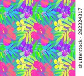 vivid tropical flowers and... | Shutterstock .eps vector #282324317