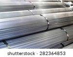 stacked aluminum  metal rods....   Shutterstock . vector #282364853