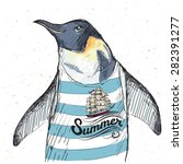 illustration of pirate penguin... | Shutterstock .eps vector #282391277