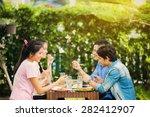 asian ethnicity having... | Shutterstock . vector #282412907