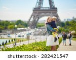 happy family of two having fun... | Shutterstock . vector #282421547