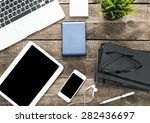 working desk.open laptop  books ... | Shutterstock . vector #282436697