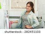 beautiful young girl doing... | Shutterstock . vector #282451103