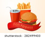 fast food  lunch  meal  set | Shutterstock .eps vector #282499403