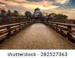 the sun sets behind osaka... | Shutterstock . vector #282527363