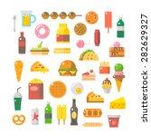 flat design of junk food set... | Shutterstock .eps vector #282629327
