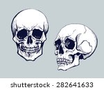 black and white human skull | Shutterstock .eps vector #282641633