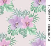 tropical background with orchid ... | Shutterstock .eps vector #282660743